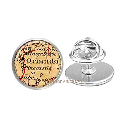 Orlando Florida On Map.Amazon Com Map Pin Orlando Florida Pin Ny Brooch Art Pin Orlando