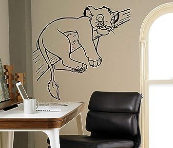Sleeping Sinba Lion Cute Wall Sticker Cartoon Lion King Animals ...