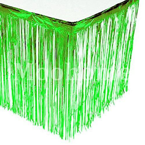 Moohome Foil Fringe Green Table Skirt 9ft. x 29inch Tinsel Party Table Skirt 108