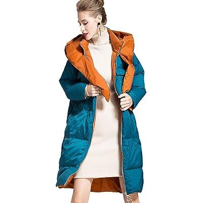 Abrigo largo de la chaqueta de las mujeres, Abrigo de Invierno para Mujer con Capucha Chaqueta Ultraligera Abajo Chaqueta Delgada y Larga sólida Abajo Parkas Hembra,S: Hogar