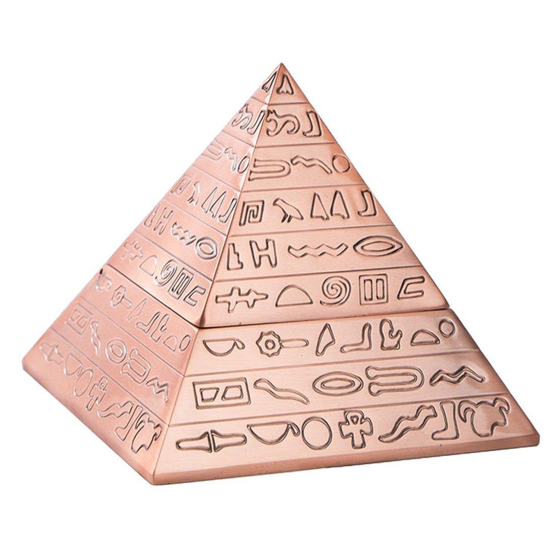 TOOGOO Decoracion de Bronce de Moda Creativa piramide Tallada Metal Egipcio Clasico Vintage con Tapa cenicero Decoracion del hogar Regalo