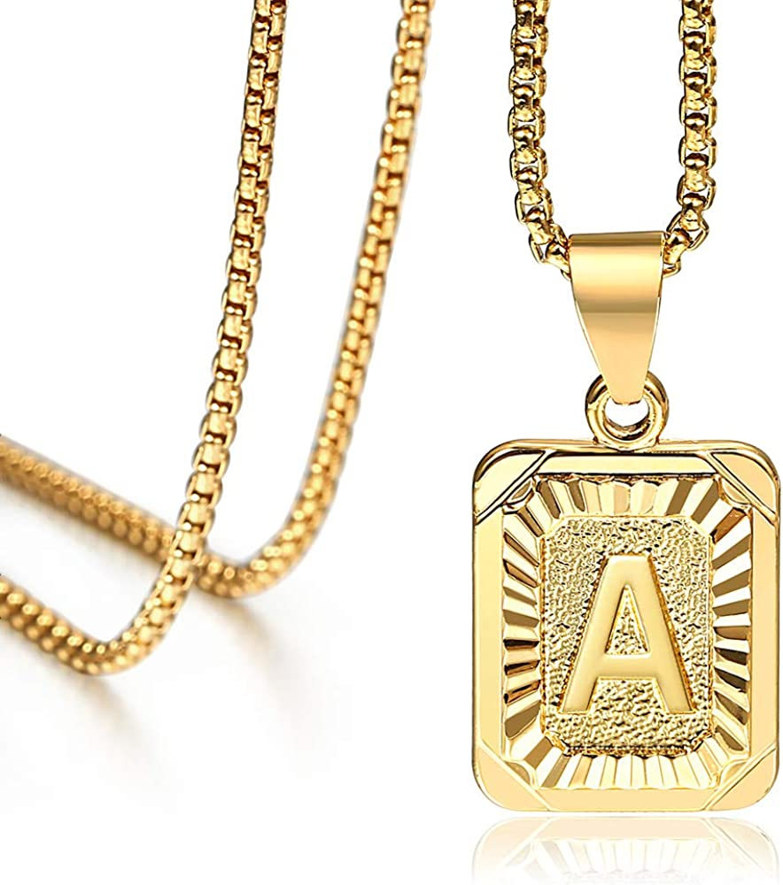 Hermah 26 Gold Plated Square Capital Initial Letter Charm Pendant Necklace for Men Women Box Steel Chain 18-22inch