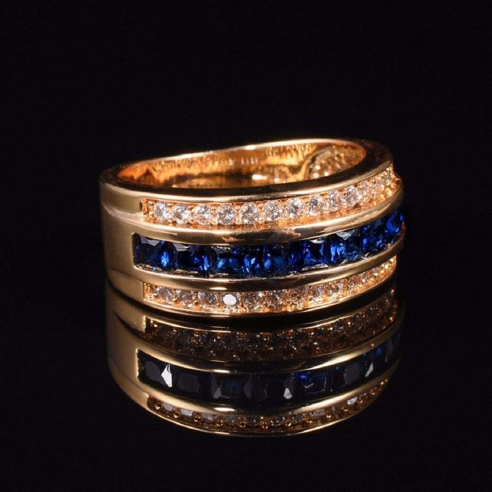 MYLDML Anillo Anillo de Boda baño de Zafiro Azul Chapado en Oro Amarillo de 10 Quilates con Granate y Piedra para Hombres, Mujeres Jewlry Talla 8-12