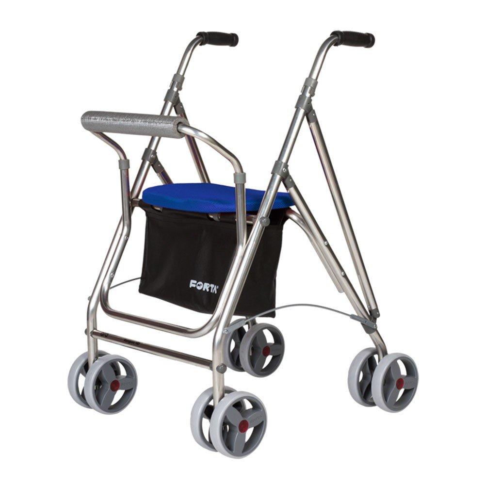Andador para personas mayores | Rollator de aluminio con asiento | Andador de aluminio plegable | Color azul