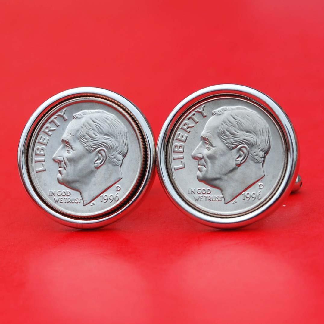 US 1996 Roosevelt Dime Gem BU Uncirculated 10 Cent Coin Cufflinks NEW