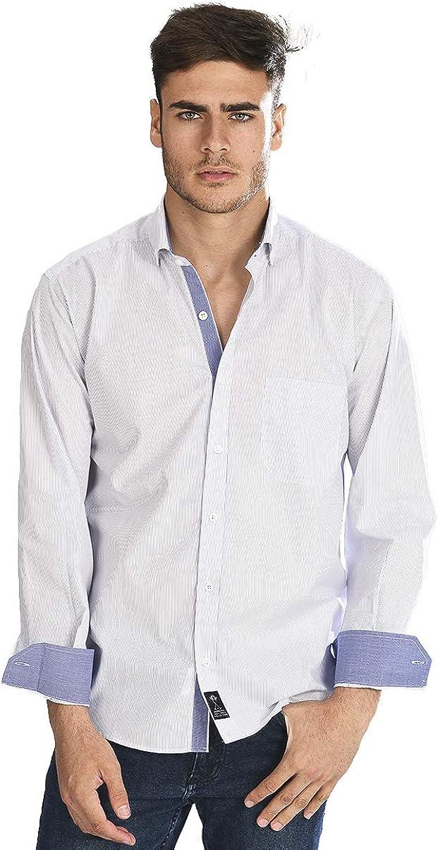 Camisa Manga Larga Blanca con Rayas Finas de Color Marino ...