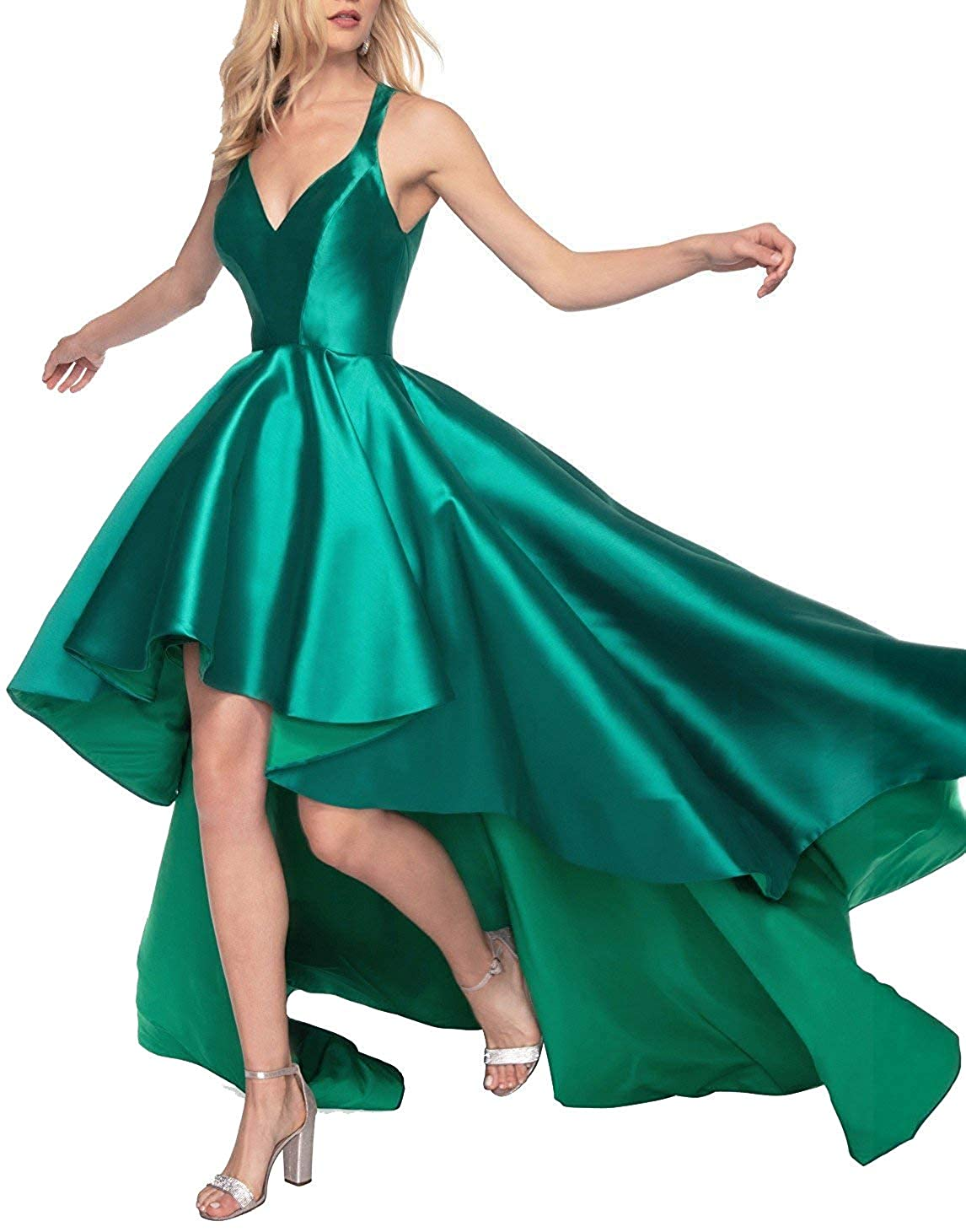 Dark Green V Neck Prom Gowns High Low Satin 2019 Open Back Formal Evening Dreses for Women