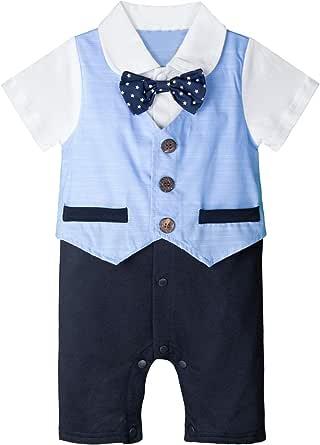 mintgreen Bebé Niño Smoking Trajes Hidalgo Romper Plaid Camisa Traje con Corbata de moño Tamaño: 6-24 Meses