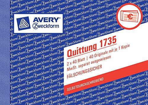 Avery Zweckform 1735 Quittung (A6 quer, MwSt. separat ausgewiesen, 2x40 Blatt) weiß/gelb