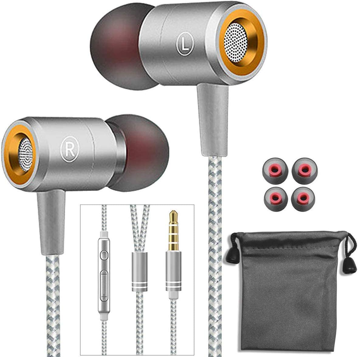 Earphones,in-Ear Earbuds Headphones Wired Headphone Metal Noise Cancelling Stereo Heave Bass with Mic and Remote for Phones,Samsung Galaxy,MP3 Players and All 3.5mm Music Device