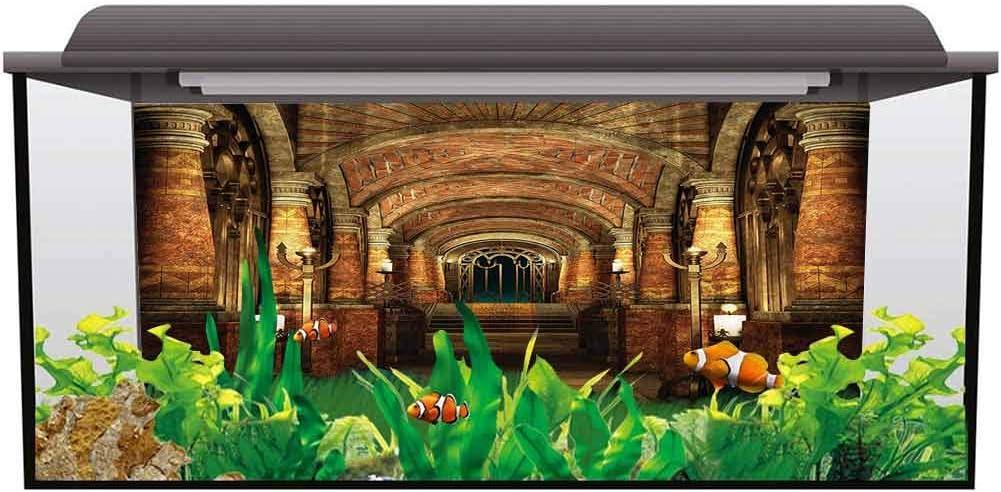 ScottDecor Fish Tank Backdrop Poster Gothic,Secret Passage Medieval PVC Adhesive