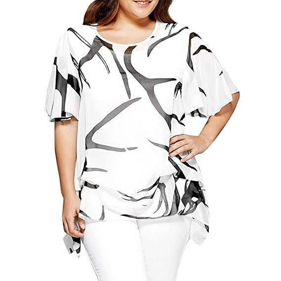 Lenfesh Mujeres Suelta Camiseta para Mujer Blusa Manga Corta Camisas de Gasa Cuello Redondo Talla Grande