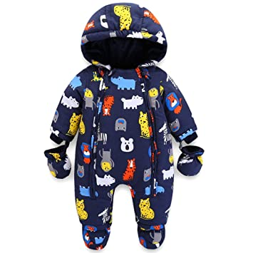 495304174 Amazon.com  Baby Hooded Romper Snowsuit with Gloves Booties Winter ...