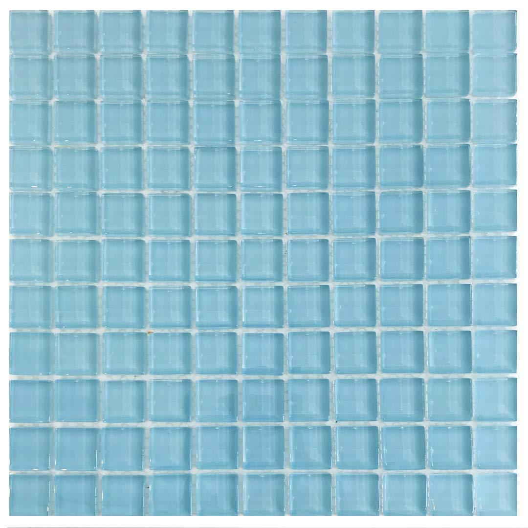 1 x 1 Mosaic Glass Tile (10 Sheets, Blue Sky 1 x 1) by Raffi Glass