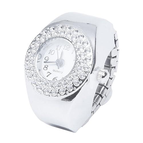 TOOGOO(R) TOP Damen Quarzuhr Ringuhr Ring Uhr Fingeruhr Uhrenring silberfarbe