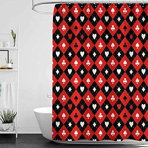 SKDSArts Shower Curtains Seasonal Poker Tournament Decorations,Card Suit Chess Board Classic Checkered Pattern Symbols,Red Black White,W65 x L72,Shower Curtain for Women ()