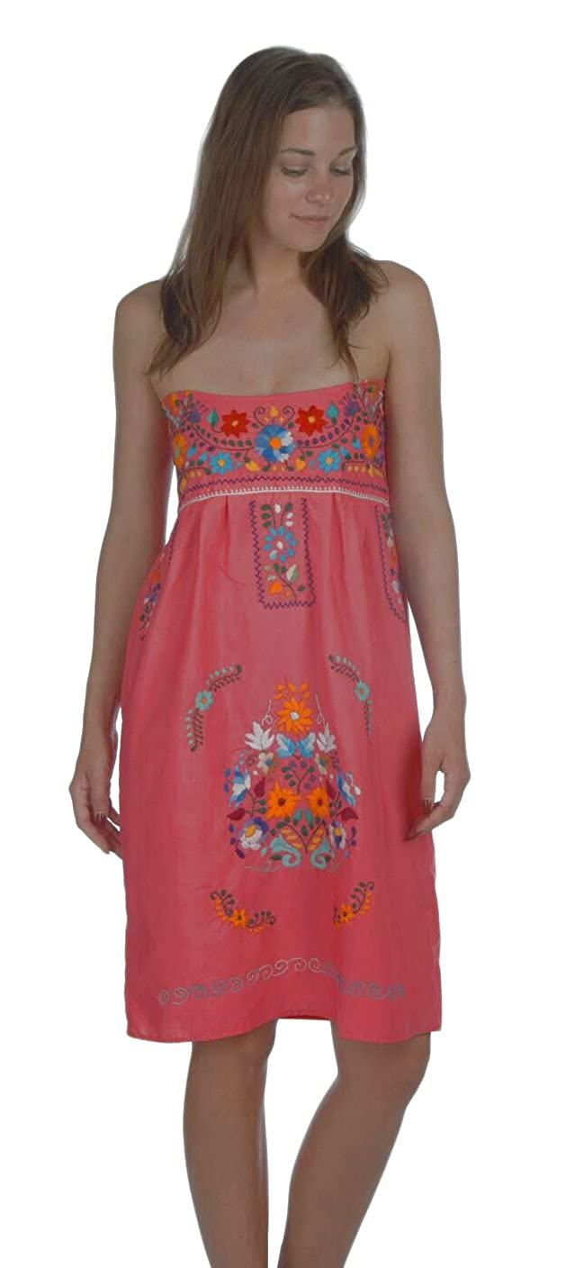 Women's Hand Embroidered Mexican Pink Strapless Dress - DeluxeAdultCostumes.com