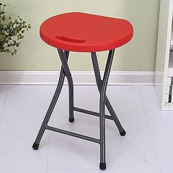 LYTSM® sillas Plegables Banco Redondo de plástico Taburete ...
