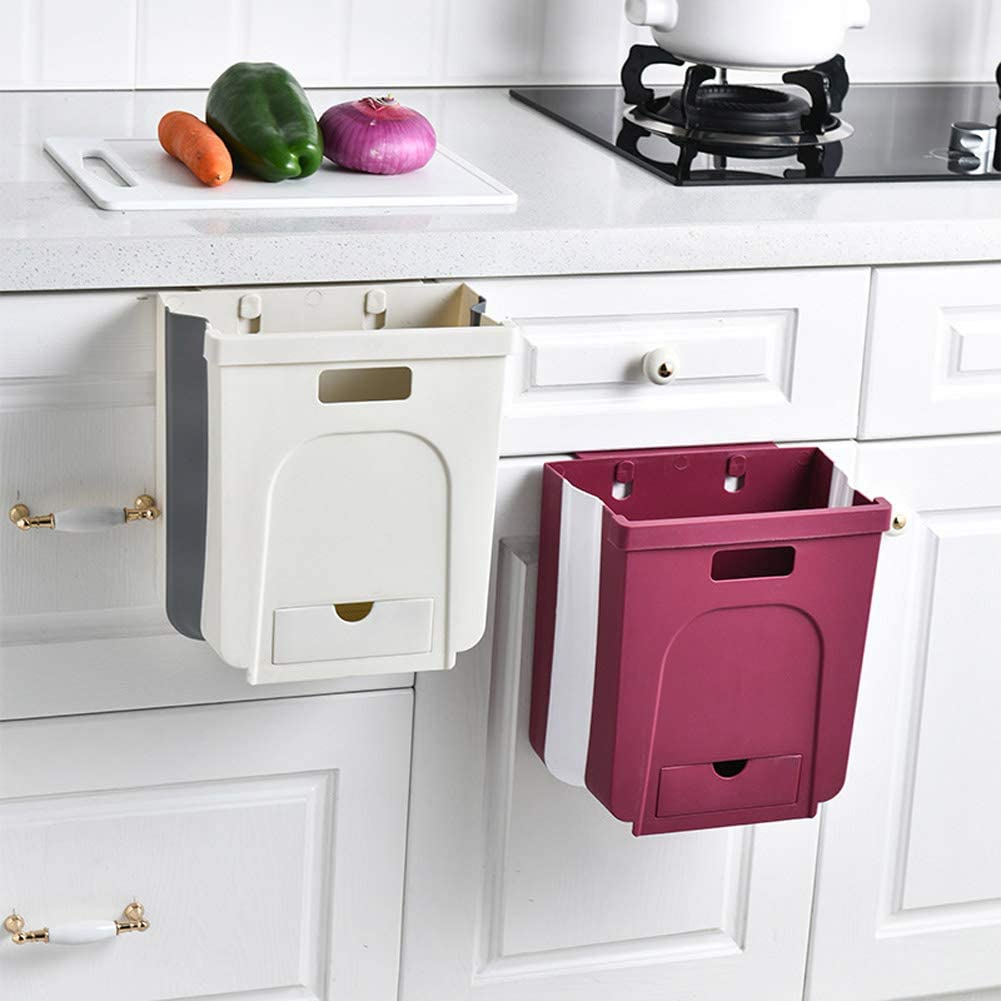 DreamInn Kitchen Hanging Trash Can Collapsible Small Garbage Bin for Kitchen Cabinet Cupboard Door Foldable Trash Bin Garbage Can Waste Bins with Drawer for Cabinet Door//Car//Bathroom//Office Grey