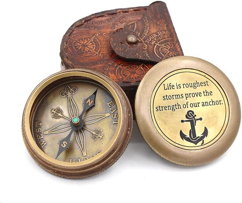 ROORKEE INSTRUMENTS INDIA A NAUTICAL REPRODUCTION HOUSE Life is a roughest Storms Prove The Strength of Your Anchor-Brass Compass//Case
