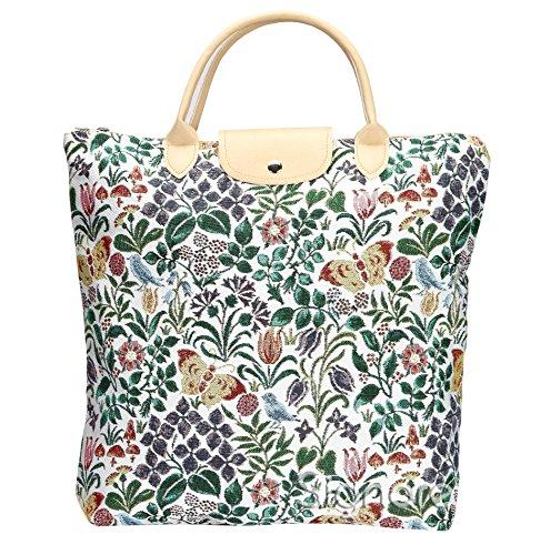 Borsa donna Signare in tessuto stile arazzo Pieghevoli Shopping alla moda fiore primaverile