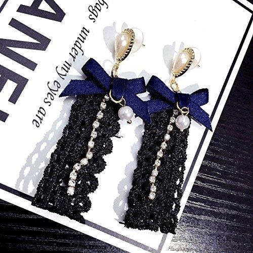 Patterson Women Girls only Beautiful Earrings earings Dangler Eardrop Delicate Openwork Lace Embroidery Yarn Diamond Bow Long