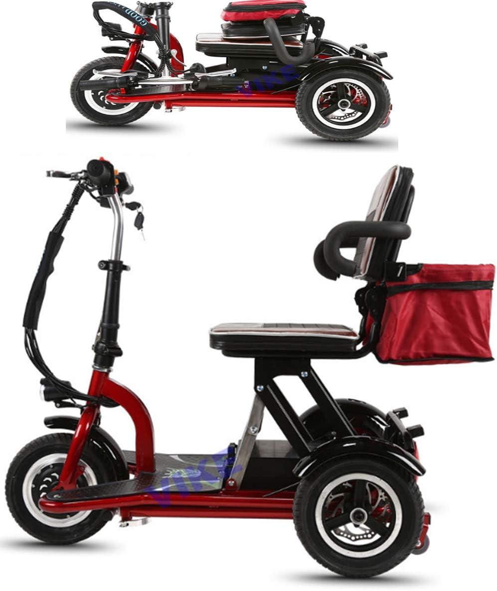 ASYHWZ Triciclos eléctricos para Ancianos, discapacitados, sillas de Ruedas eléctricas, Plegables para Adultos, Viajes portátiles de Ocio.