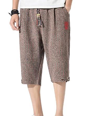 BingSai Pantalones Cortos de Lino para Hombre, Casuales ...