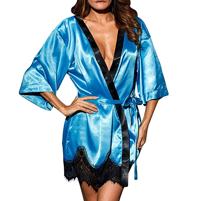 Modaworld Kimono Batas Mujer Muñeca de Vestir de Kimono de Seda Sexy para Mujer Lencería de baño de Encaje Vestidos de Dormir Camisón de tentación S -XXXL: ...