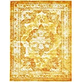 Traditional Persian Vintage Design Rug Gray Rug Yellow 8' 11 x 12' FT (366cm x 274cm) Sofia Area Rug Inspired Overdyed Distressed Fancy