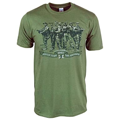 Mens Retro Rescue Team Not Assassins T Shirt Military Green Large - Chest 40-42in
