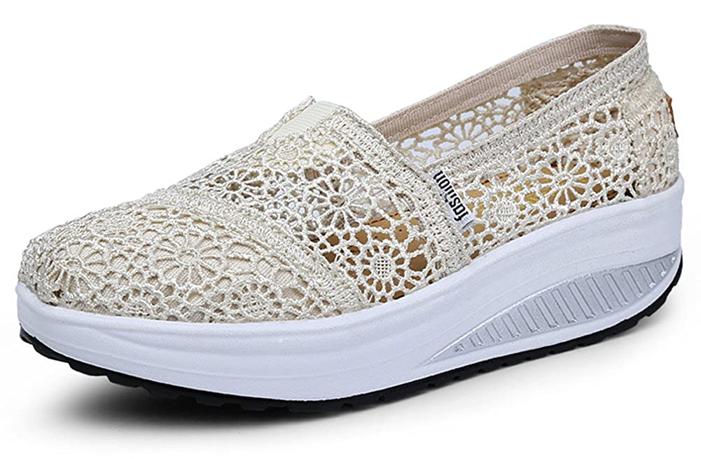 fa46f41798235 Ausom Women's Crochet Breathable Slip-On Platform Wedges Toning Shoes  Walking Fitness Work Out Sneaker