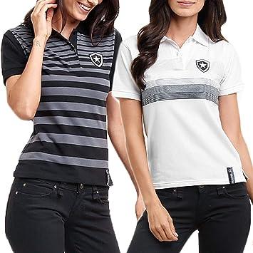 09b3a9f126 Kit C  2 Camisas Polo Feminino Botafogo Oficial Fio Tinto  Amazon ...
