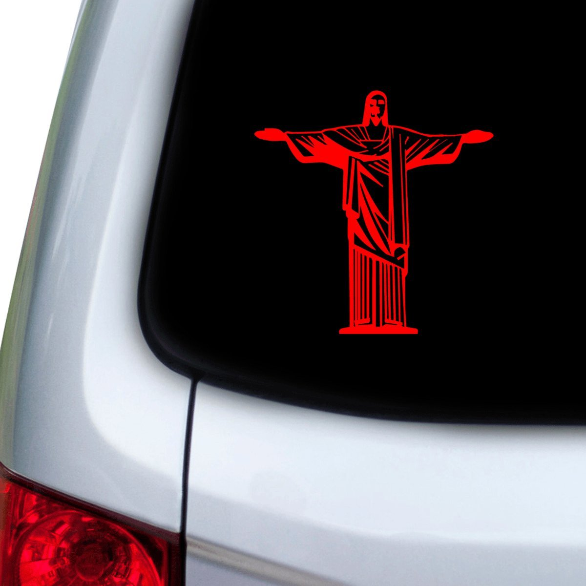 StickAny Car and Auto Decal Series Jesus Arms Wide Open Sticker for Windows Hoods Doors Red