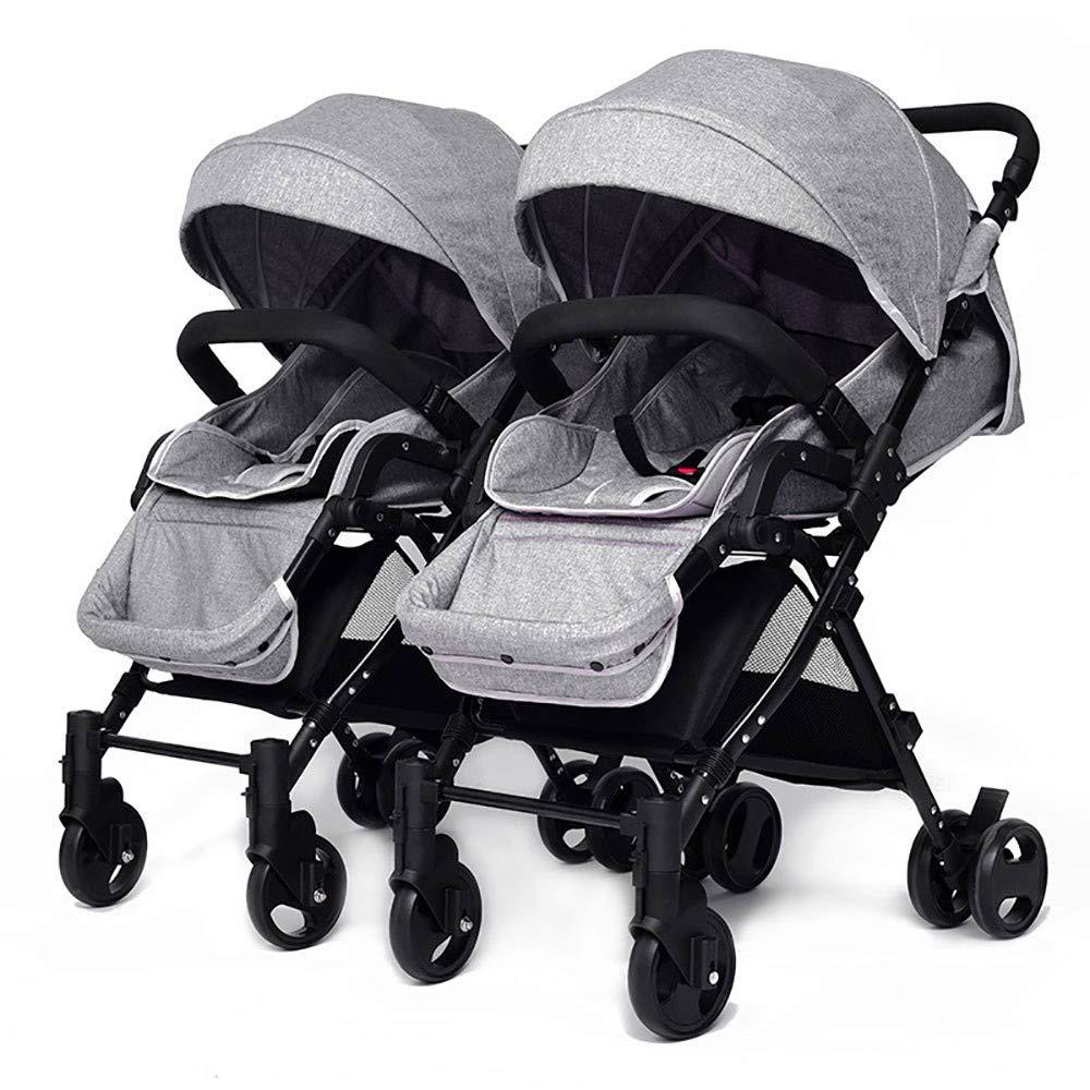 双生児の赤ん坊のトロリー、多位置のリクライニングシート、容易な折り畳み式および折りたたみ可能、大きい貯蔵のバスケット、4つの色の選択のベビーカー  Gray B07NVJDG17