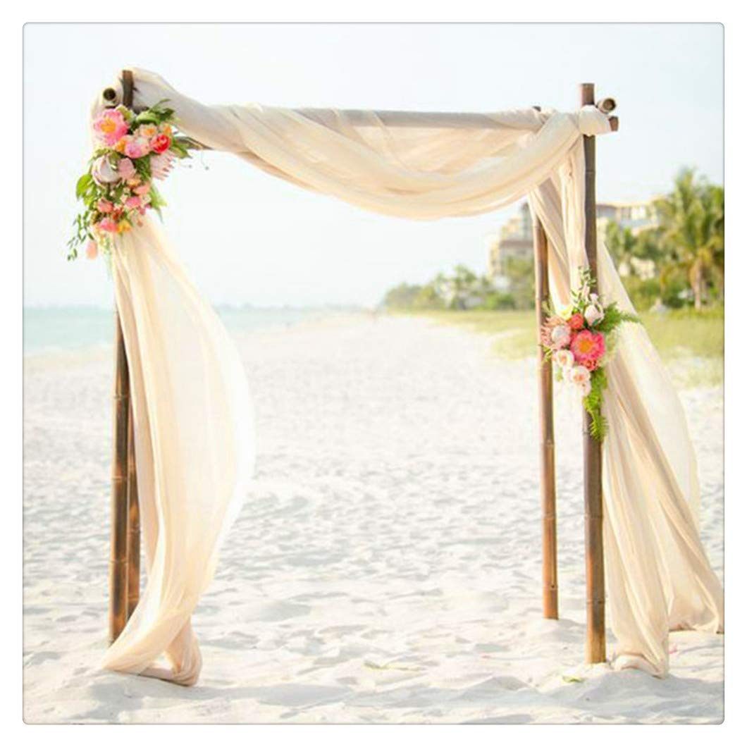 SoarDream 2 Pieces of Chiffon Table Runner 27x120 Inch Ivory Dining Room Table Runners Romantic for Wedding Table Bridal Shower Party Reception Decor by SoarDream