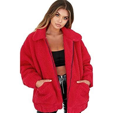 098c35f985d0 Womens Oversized Teddy Bear Lapel Coat Ladies Faux Fur Borg Zip Jacket with  Pockets  Amazon.co.uk  Clothing