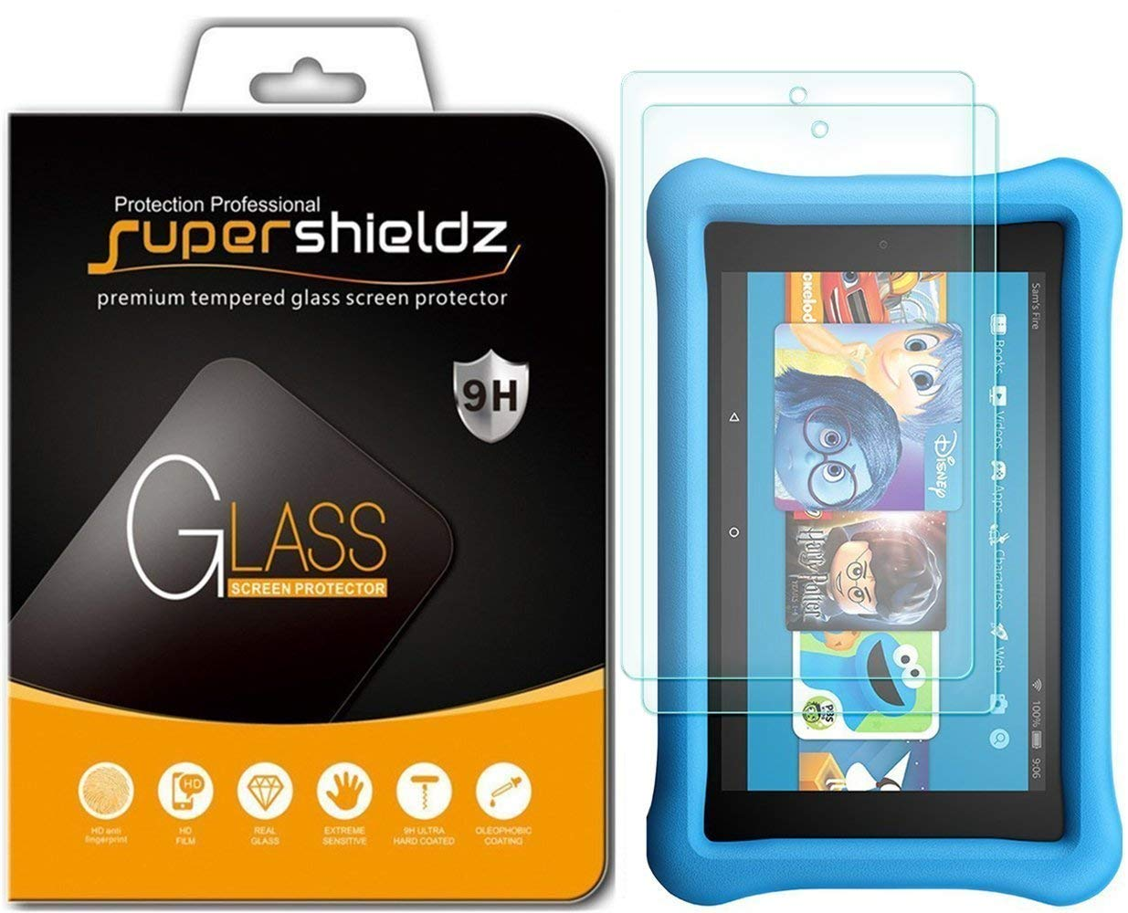 [2-Pack] Supershieldz for All-New Fire HD 10 Kids Edition Tablet 10.1'' Tempered Glass Screen Protector, Anti-Scratch, Anti-Fingerprint, Bubble Free, Lifetime Replacement Warranty