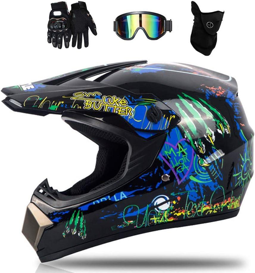Motorrad Crosshelm mit Brille Cross Helm Herren Motorradhelm f/ür MTB Enduro ATV Downhill Off Road 4 St/ück Motocross Helm Set Graffiti//Schwarz und Blau MRDEAR Fullface-Helm Kinder