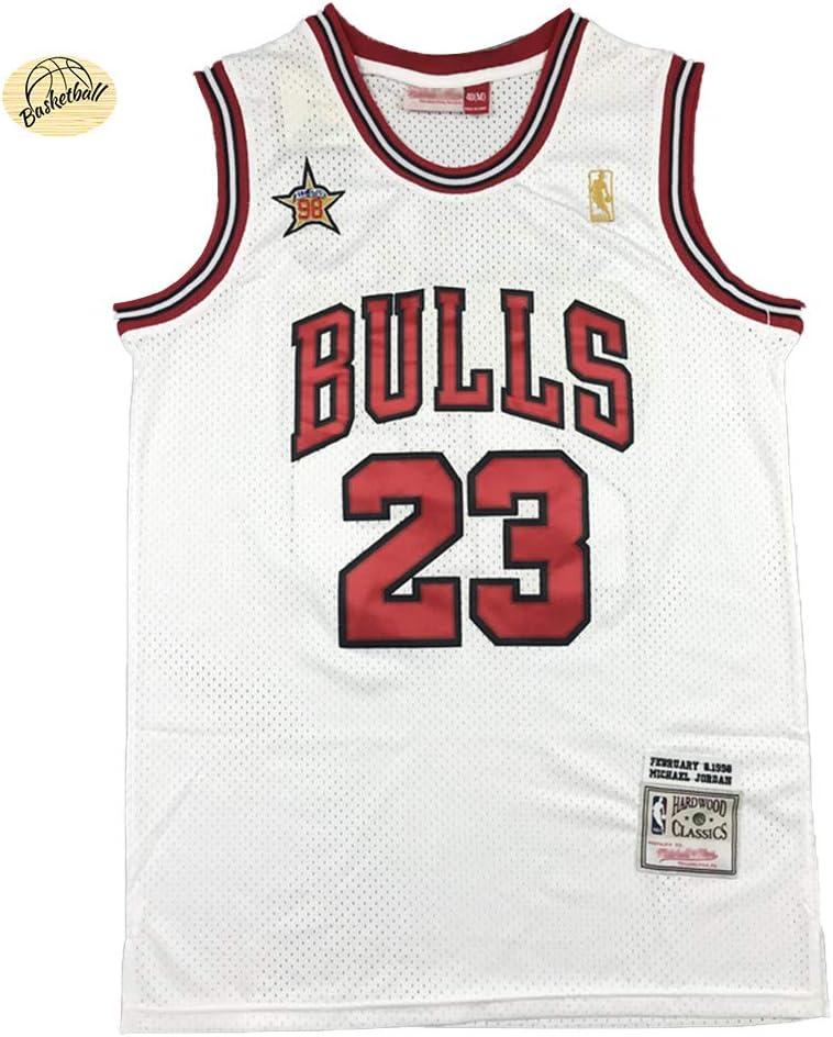 S-2XL chaleco retro bordado para hombre CLKJ Michael Jordan # 23 Bulls 98 All-Star Basketball Jersey -L sudadera de malla de verano al aire libre