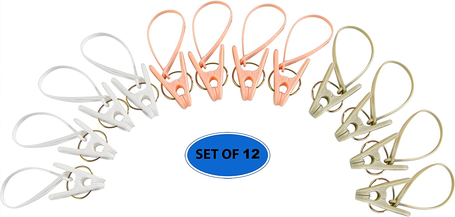Home-X 12 Pcs Pastel Clothes Peg Clip Pins, Plastic Clothespins, Heavy-Duty Clothes Hangers, Hanging Clips Hooks with Rope Clothesline Windproof Hanger