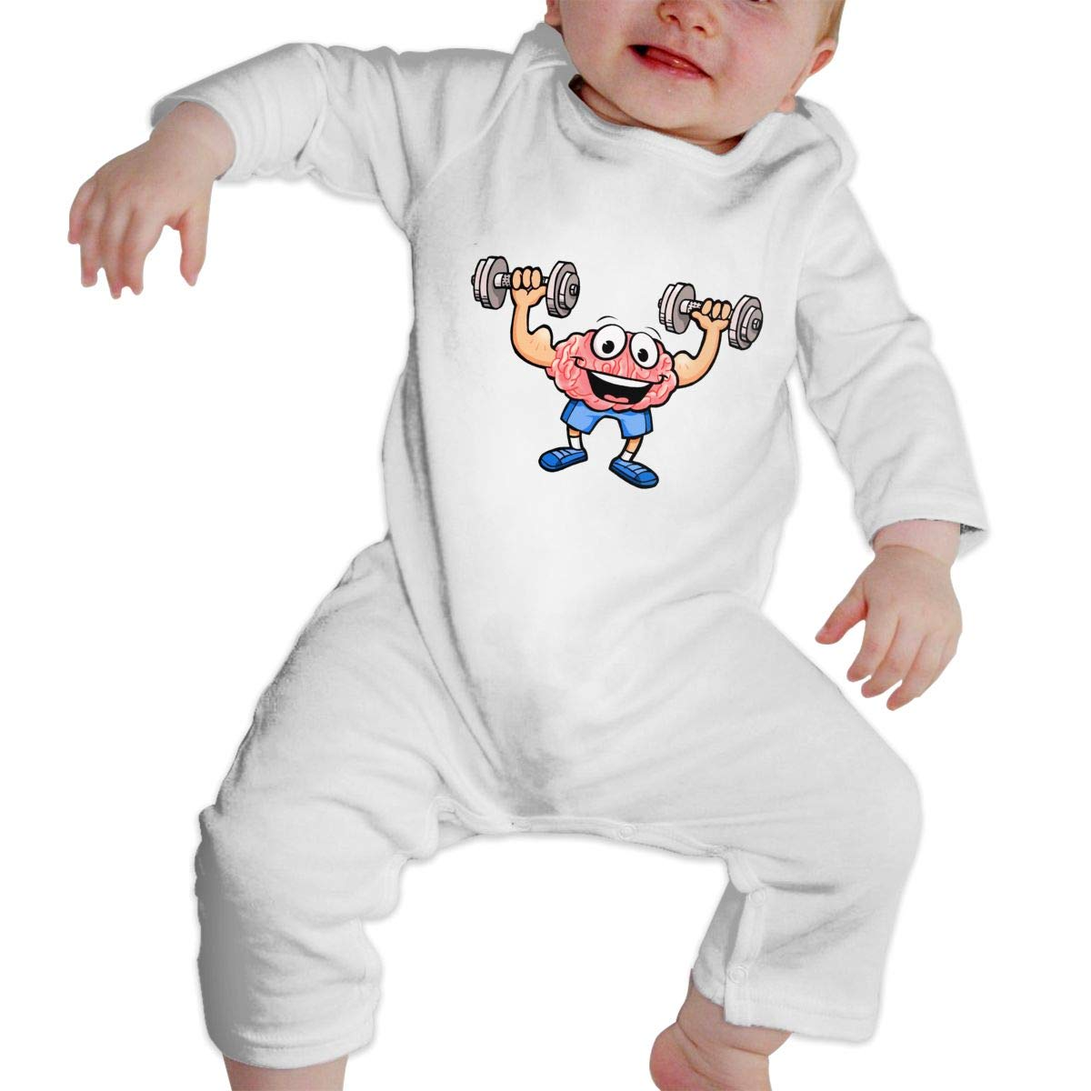 A1BY-5US Infant Babys Cotton Long Sleeve Cartoon Brain Training Climb Romper Funny Printed Romper Clothes