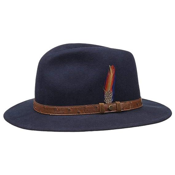 9124eba8c3e Stetson Pitman Traveller Felt Hat Men´s Wool (S (54-55 cm) - Blue)  Amazon. co.uk  Clothing