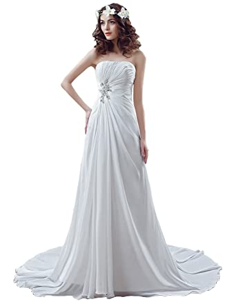 sarahbridal womens wedding dress strapless bandage bridal gown with pearls ivory us2