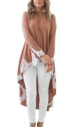 2d827fdf894 PRETTYGARDEN Womens Lantern Long Sleeve Round Neck High Low Asymmetrical  Irregular Hem Casual Tops Blouse Shirt Dress