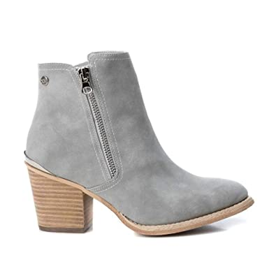XTI Womens Block Heeled Side Zipper Ankle Boots , Grey