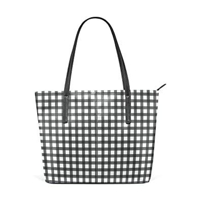 544e07eb6ae4 Image Unavailable. Image not available for. Color  Women PU Leather Tote  Black White Buffalo Plaid Shoulder Bag