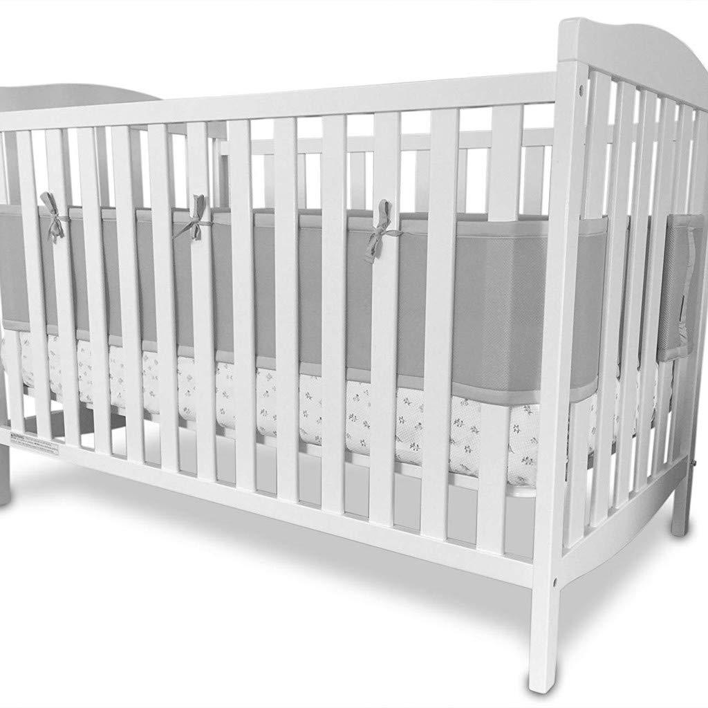 White dzt1968 Breathable Crib Bumper Grey Mesh Crib Bumper for Full-Size Crib Breathable Mesh Baby Bedding Nursery Set Prevent Baby from Getting Stuck in Crib Slats