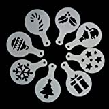 RayLineDo® 8 x Cappuccino Coffee Stencils Template Christmas Style Strew Flowers Pad Duster Spray Art by Raylinedo