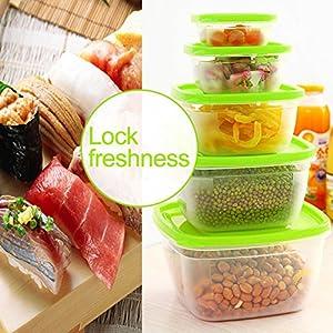 Plastic Food Storage Container Lids Transparent Sealed Microwavable Crisper Set